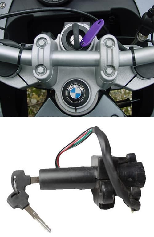 BMW motorcycle with a new key in it's ignition (top), and a motorcycle ignition (bottom)