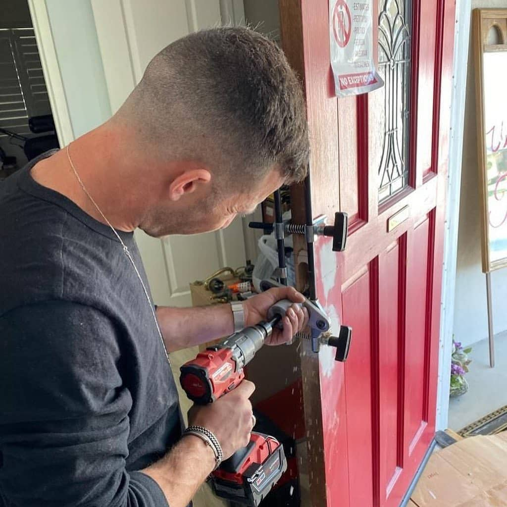 drilling a door for a new residential lock install